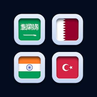 Saudi-arabien, katar, indien und die türkei kennzeichnen 3d-schaltflächensymbole