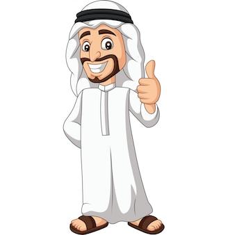 Saudi-arabischer mann der karikatur, der einen daumen aufgibt
