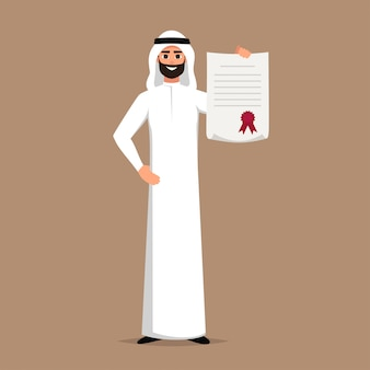Saudischer geschäftsmann hält ein zertifikat