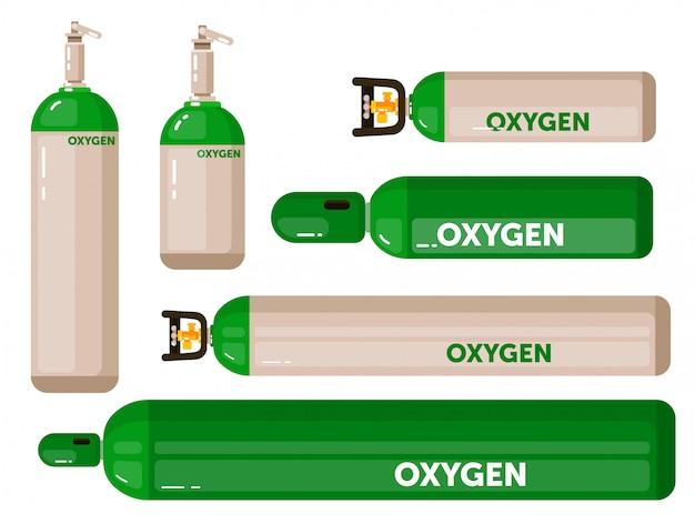 Sauerstoffgastank eingestellt auf weißem hintergrund