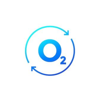 Sauerstoffsymbol mit pfeilen, vektordesign