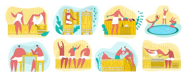 Sauna, spa und dampfhaus für körper wellness, entspannung, reinigungsverfahren set von. menschen genießen heißen dampf, massage und saunapool, birkenzweige. spa- und badetherapie.