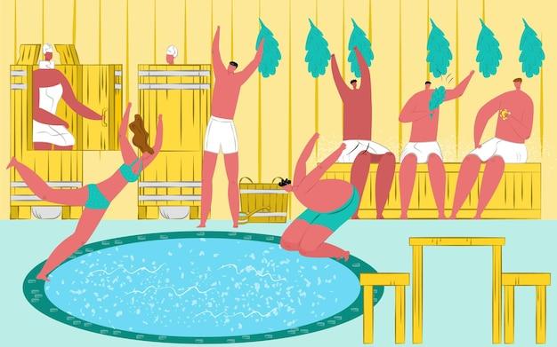 Saunabad mit dampf, vektorillustration. heißes entspannungsverfahren für körper, mannfrauencharakter im handtuch, wellnessentspannung durch hitze. die leute sitzen in einem warmen eimer, springen zur gesundheitsbehandlung in kaltes wasser.