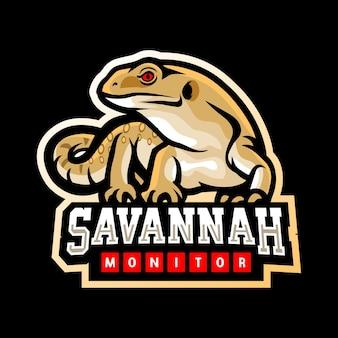 Savannah monitor-maskottchen-esport-logo-design Premium Vektoren