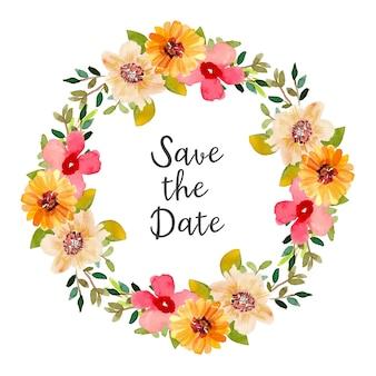 Save the date aquarell kranz mit roten und gelben blüten