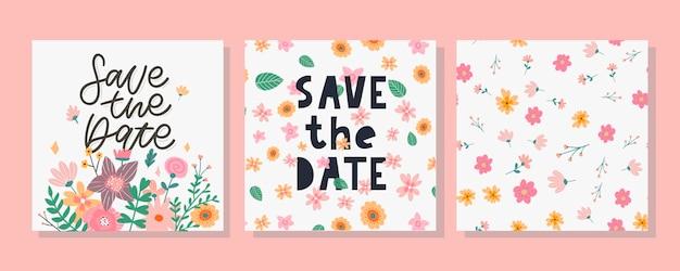 Save the date-karte und blumenmuster-set