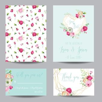 Save the date kartenset mit rosa blüten und goldenen elementen. hochzeitseinladung, jubiläumsfeier, dekoration, rsvp blumenvorlage. vektor-illustration