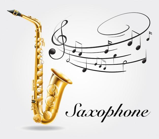 Saxophon und musiknoten auf plakat