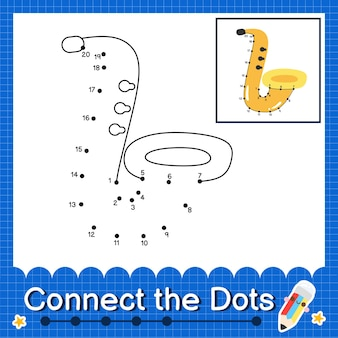Saxophonkinder verbinden das punktarbeitsblatt für kinder, die die nummern 1 bis 20 zählen