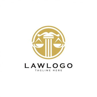 Scale gerechtigkeitsgesetz und kreis emblem logo