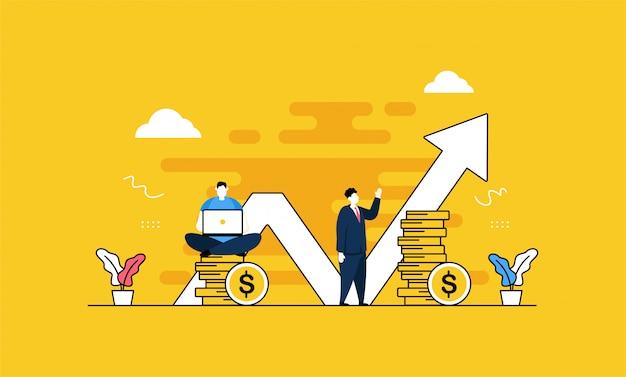 Scale up business im flachen stil