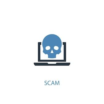 Scam-konzept 2 farbiges symbol. einfache blaue elementillustration. betrugskonzept symboldesign. kann für web- und mobile ui/ux verwendet werden
