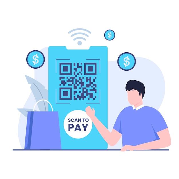 Scan-to-pay-konzept für das illustrationsdesign