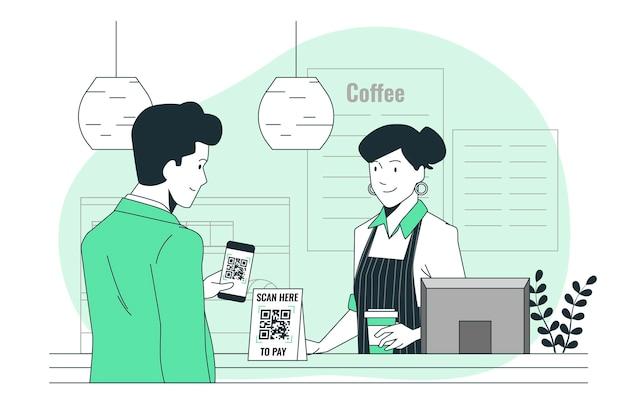 Scan-to-pay-konzeptillustration