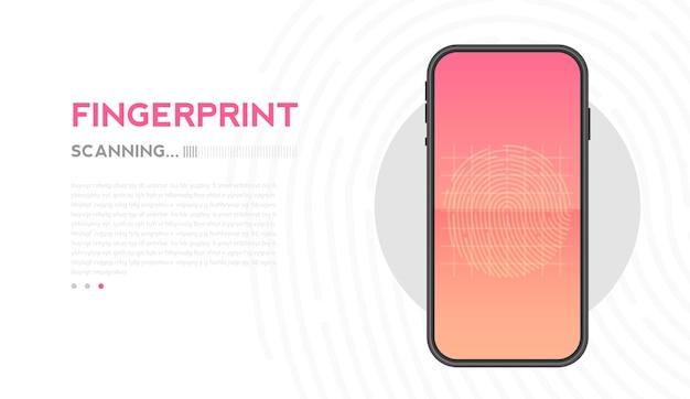 Scannen des fingerabdrucks auf dem smartphone entsperrt den fingerabdruck des mobilen datensicherheitskonzepts des mobiltelefons