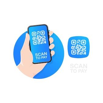 Scannen des qr-codes auf dem tisch und online-zahlung