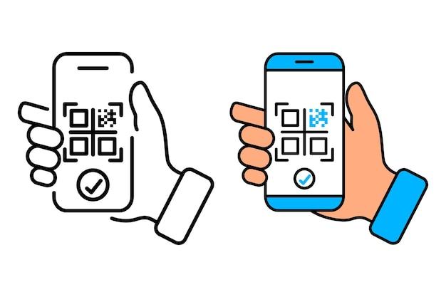 Scannen des qr-codes mit dem qr-code des mobiltelefons für die zahlung des bargeldlosen technologiekonzepts der geldbörse