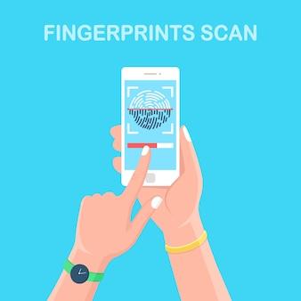 Scannen sie den fingerabdruck auf das mobiltelefon. smartphone-id-sicherheitssystem.