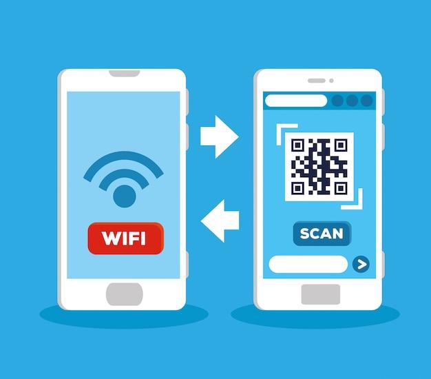 Scannen sie den qr-code mit dem illustrationsdesign des smartphones