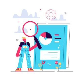 Scannen von geschäftsdokumenten. elektronisches online-dokument mit kreisdiagramm-infografiken. datenanalyse, jahresbericht, ergebnisprüfung. mann mit lupe. isolierte konzeptmetapherillustration