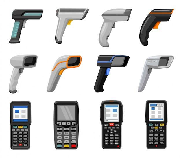 Scanner-cartoon-set-symbol. isolierter cartoon-satz symbol-barcode-code. illustrationsscanner auf weißem hintergrund.