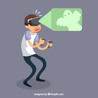 Scared junge mit virtual-reality-brille
