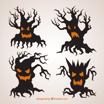 Scary halloween bäume