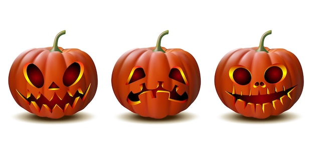 Scary jack o lantern halloween-kürbis mit kerzenlicht im inneren, satz von halloween-kürbissen im vektor mit verschiedenen gesichtern für symbole und dekorationen auf weißem hintergrund. vektor-illustration.