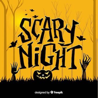 Scary nacht halloween schriftzug design