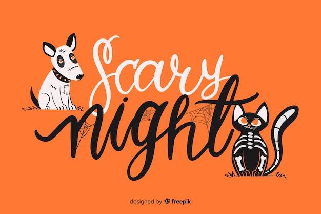 Scary night halloween schriftzug