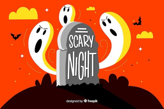 Scary night schriftzug mit ghost