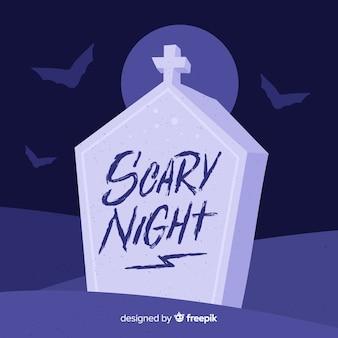 Scary night schriftzug mit grabstein