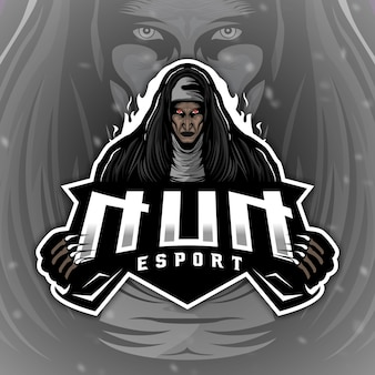Scary nun logo maskottchen für gaming-esport