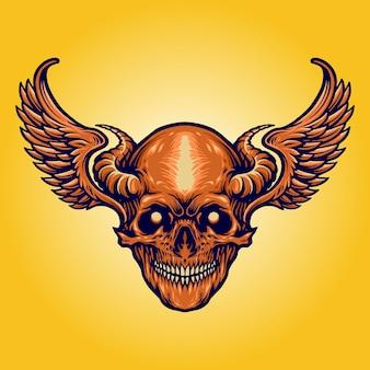 Scary skull horn wings