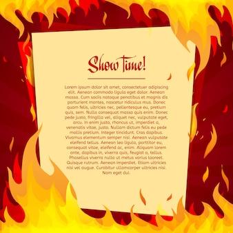 Schablone auf einem hellen rot mit rahmen des feuers.