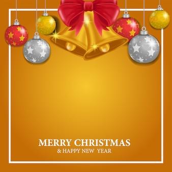 Schablone der frohen weihnachten mit leerstelle und dekoration