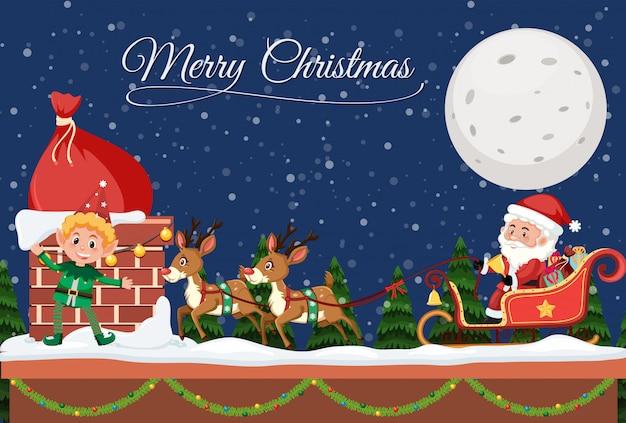Schablone der frohen weihnachten nachts