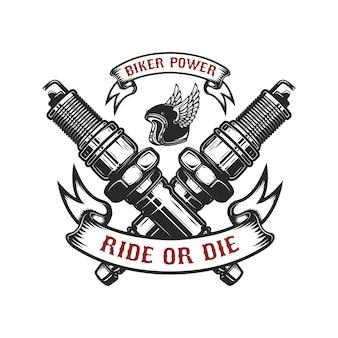 Schablone des emblems mit gekreuzten zündkerzen. element für logo, etikett, abzeichen, zeichen. illustration
