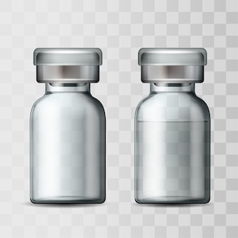 Schablone des medizinischen fläschchens aus transparentem glas mit aluminiumkappe. leere glasampulle und ampulle mit impfstoff oder medikament zur medizinischen behandlung. realistische 3d-modelle von flaschen mit medikament zur injektion.