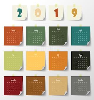 Schablone des modernen kalenders 2019. vektor / illustration.