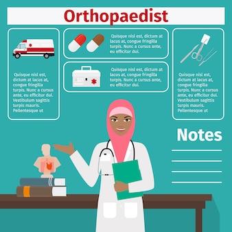 Schablone des weiblichen orthopäden und der medizinischen ausrüstung
