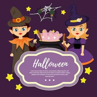 Schablone halloween mit zauberer mit zwei mädchen