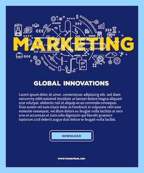 Schablone mit illustration der marketingwortbeschriftungstypographie mit linienikonen auf blauem hintergrund. marketing-technologie.