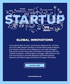 Schablone mit illustration der startwortbeschriftungstypographie mit linienikonen auf blauem hintergrund. startup-technologie.