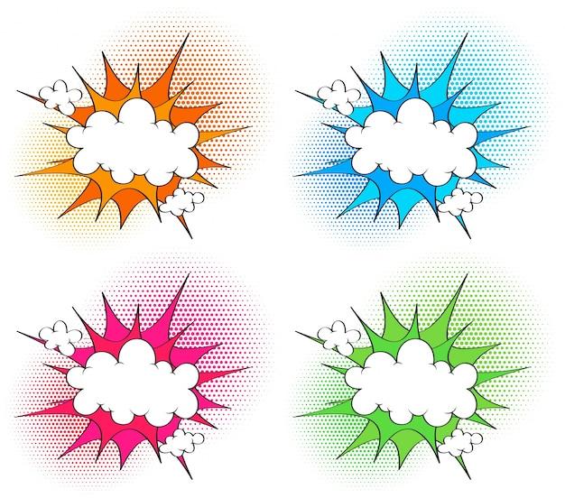 Schablone mit vier wolken mit unterschiedlichem farbspritzen in den hintergründen