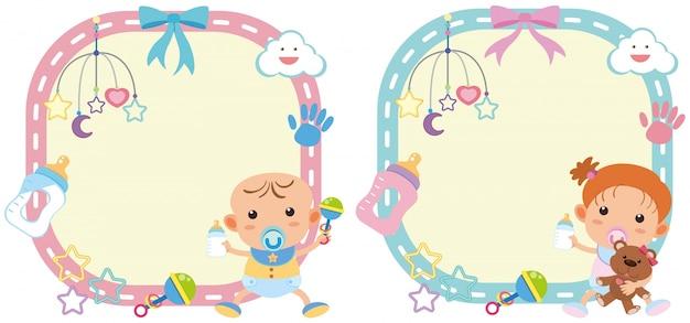 Schablone mit zwei grenzen mit baby und mädchen