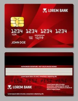 Schablone mit zwei seiten der kreditkarten