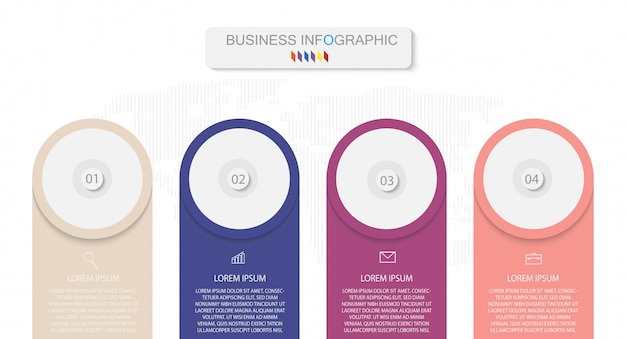Schablonen-design des geschäfts infographic mit wahlen oder schritten der nr. 4 vector eps10