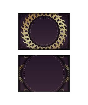 Schablonen-postkarte burgunderfarbe mit mandala-goldmuster vorbereitet für typografie.