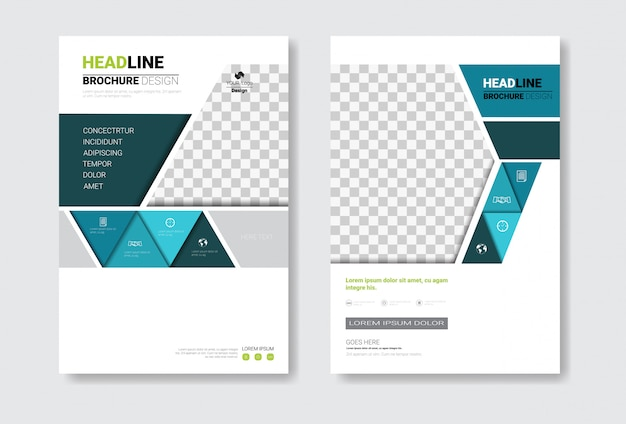 Schablonendesign-broschüren-set